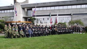 Entire parade contingent with Saanich Mayor and Surgeon General