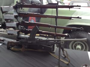 A close look at some of the weapons on display.