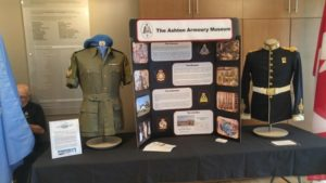 Ashton Armoury Museum provided static display at Vancouver Island Shakespeare Arts (VISA) fund raiser June 25, 2016. The museum is supporting a VISA tribute to Canadian Peacekeepers based on an adaptation of Othello set in Cyprus circa 1970 with event appropriate uniforms