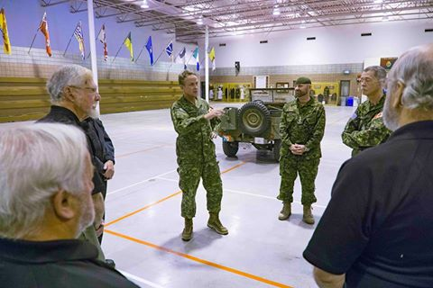 BGen Simon Hetherington, 3 Canadian Division Commander chats with 11 Svc Coy and Museum staff during his October 23rd visit to the LGen E..C. Ashton Armoury